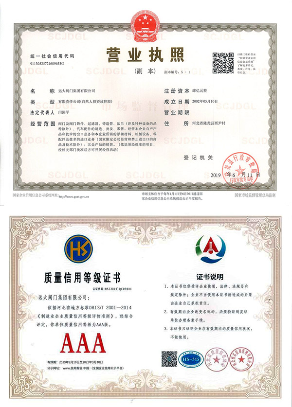 Business license / quality credit rating certificate